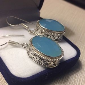 Beautiful blue chalcedony earrings